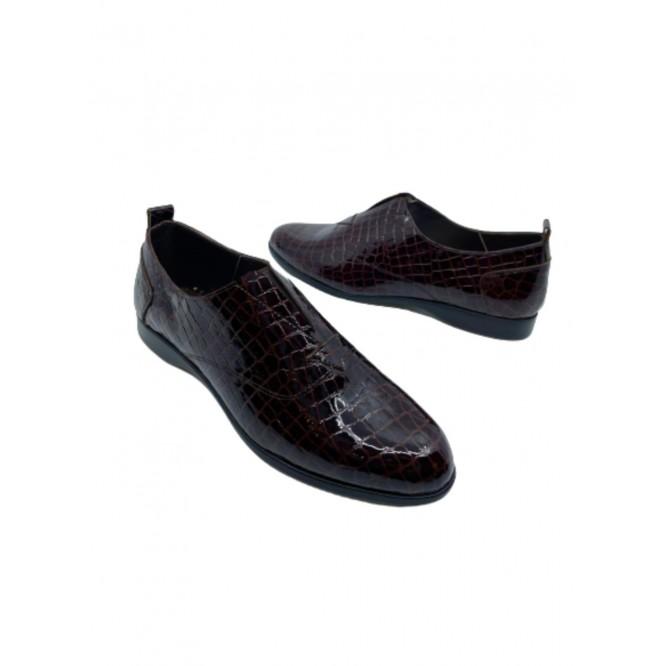 Pantofi din piele naturala 607-Croco Maro