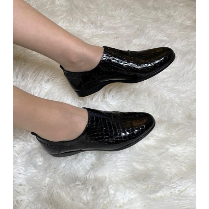 Pantofi din piele naturala 607-Croco Negru