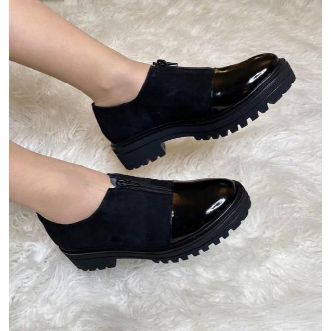 Pantofi din piele naturala 619-Ant. Negru-Lac