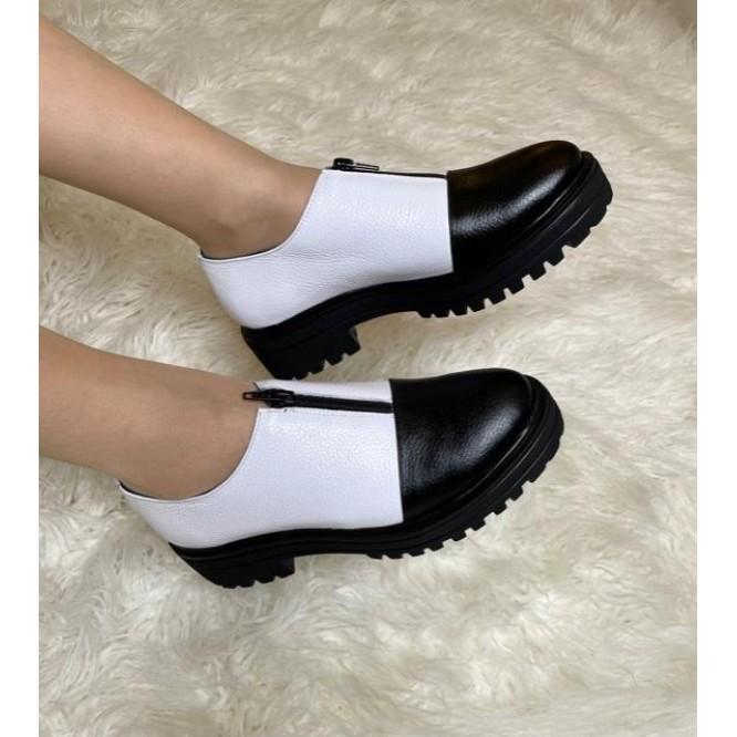 Pantofi din piele naturala 619-227-Negru Bizon